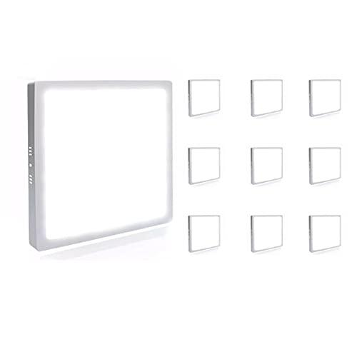 Kit 10 Painel Plafon Luminária Led 6W Quadrado Sobrepor - Branco Quente - Avant Decoração Casa Loja
