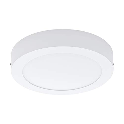 EGLO LED Deckenleuchte Fueva 1, 1 flammige Deckenlampe, Material: Metallguss, Kunststoff, Farbe: Weiß, Ø: 22,5 cm, warmweiß