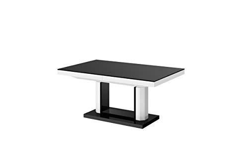Furniture24 Design Couchtisch Tisch Quadro Lux Wohnzimmertisch Hochglanz Schublade höhenverstellbar ausziehbar Esstisch Sofatisch (Weiß Hochglanz/Schwarz Hochglanz/Weiß Hochglanz)