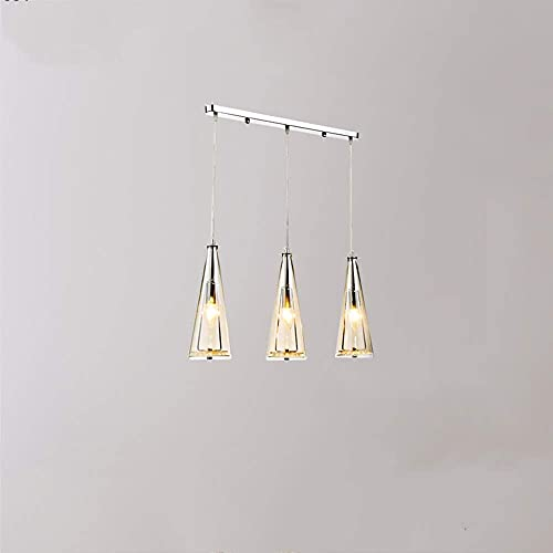 ykw Three E14 Crystal Chandeliers, Transparent Glass Iron Sucker Chandelier Lampshade, Height Adjustable, 12.5×32cm Suitable for Living Room, Bedroom, Dining Room and Hotel Lamps (Color : A)