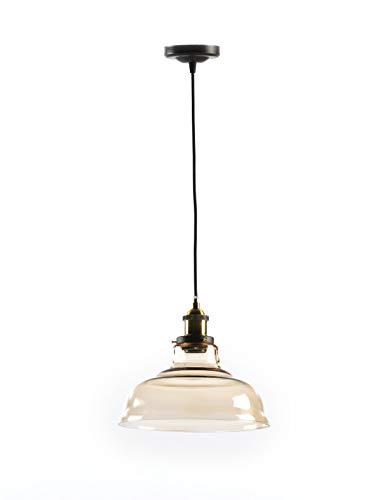 Lámpara techo vidrio soplado ambar. Embellecedor vintage oro viejo. Dimensiones: 28cm diámetro 24cm altura. Admite bombilla led o bajo consumo. Casquillo E-27. IP20. Producto artesanal.