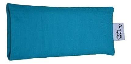 Tvamm-Lifestyle Augenkissen mit Leinsamen/Lavendel Füllung - 100% Baumwolle Stoff, 23 x 11 cm/in wunderschönen Farben erhältlich (Turkis)