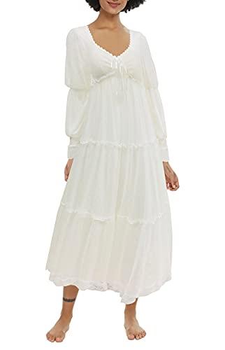 Alcea Rosea Damen Nachthemd Langarm Baumwolle Nightdress Vintage Viktorianisch Prinzessin Strick Lace Nachtwäsche Nachtkleid S-XL (Weiß GT012, S)