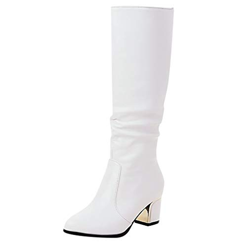 Andouy Damen Faux Wildlederstiefel Chunky High Heel Stiefel Zipper Blockabsatz Halbstiefel(35 EU.Weiß)