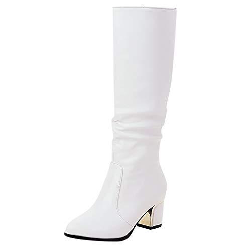 Realde Damen Lang Stiefel Hohe Stiefel Mode Freizeit Einfarbig Overknees Blockabsatz Schuhe Frühling Herbst Winterstiefelette Knöchelstiefel Warme Stiefeletten