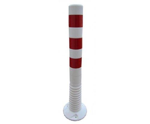 FLEXI-POLLER ø 80mm, zum Aufdübeln, 750mm hoch, weiß mit rot reflektierenden Folienstreifen