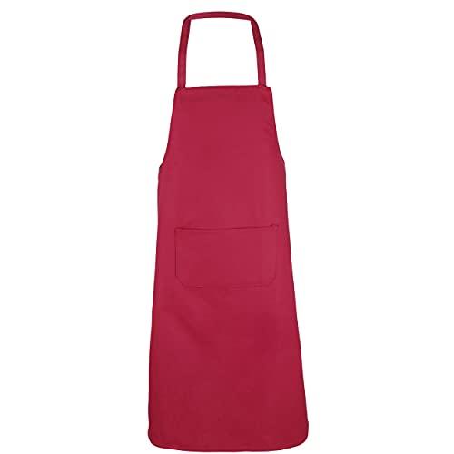 Etrexonline Delantal de Cocina de Poliéster Rojo 1 Bolsillo para Hornear Jardinería Restaurante Barbacoa Unisex Adulto