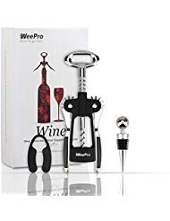 WeePro Wine Corkscrew Opener Kit with Foil Cutter and Wine Stopper, Stainless Steel Red Wine Lever Bottle Opener Wing Corkscrew - Luxe Household Christmas Wine Gift Opener Set