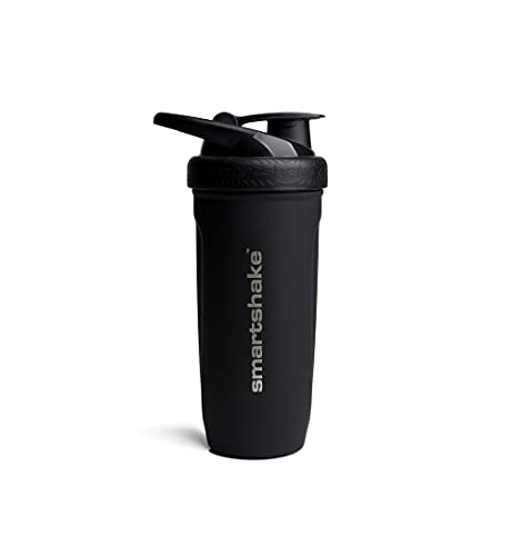 Smartshake Metal Protein Shaker Bottle Reforce Stainless Steel Cup 900ml Protein Shake Bottles Smart Mixer Shaker Cups for Protein Shakes Black