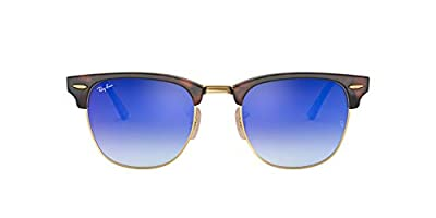 Ray-Ban RB3016 Clubmaster Square Sunglasses, Shiny Red Havana/Blue Gradient Flash, 49 mm