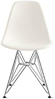 Herman Miller Eames Molded Plastic Dining Chair, White Shell/Chrome Base