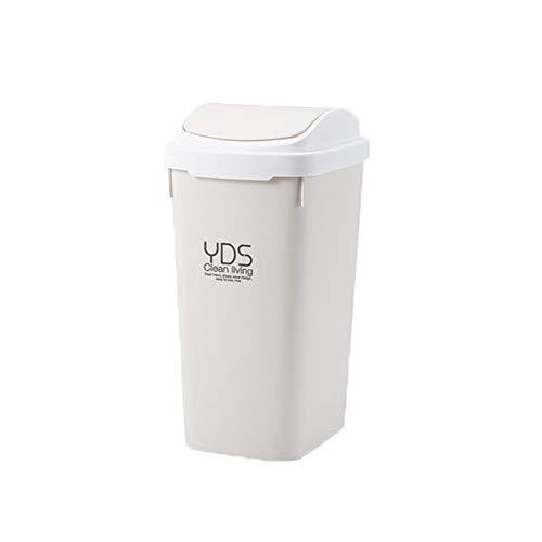 DBZG La basura de plástico de 12 litros 2,4 galones rectángulo puede resistente a los golpes Papelera cubo de basura con tapa superior de la prensa, Moderno Residuos Cesta for Baño, Sala, Oficina y Co