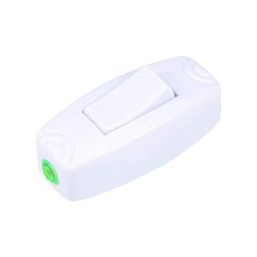 Interruptor de cable en línea, AC250V 16A On-Off DPST control de alimentación a través del interruptor basculante para lámpara de mesa de dormitorio, lámpara de escritorio (1 paquete 16A)