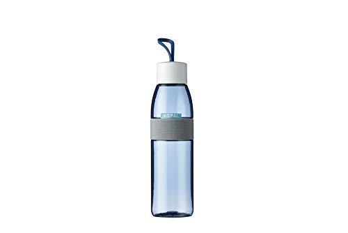Mepal Trinkflasche Ellipse Nordic Denim – 500 ml Inhalt – auch für kohlensäurehaltige Getränke – bruchfestes Material-auslaufsicher-Spülmaschinengeeignet, ABS/PCTG, 63 mm