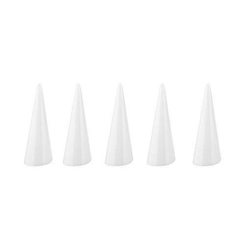 Soporte de dedo para joyería de anillo, 5 piezas de exhibición de un solo dedo, organizador de anillos en forma de dedo de 2 colores, para uso personal en el hogar y vitrina de joyería en la(Blanco)