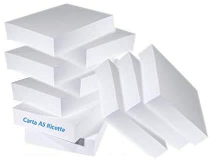 10 Risme CARTA A5 80gr 500 Fogli Carta Bianca Fotocopie Stampante 14,8x21cm RICETTE - 5000 FOGLI