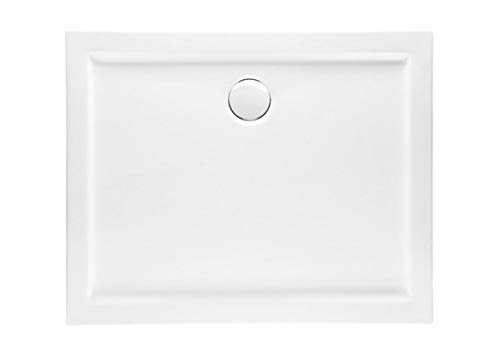 VBChome Duschwanne 110 x 90 x 5,5 cm sehr Flach Sanitär-Acryl Hochwertige Glasfaser verstärkte Wanne Form: Rechteck Eckig Weiß Alpineweiß Hochglanz Aufbau-Höhe: 3,5 cm