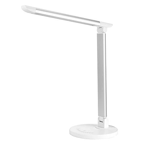 Lámpara de escritorio LED, 5 colores de luz y 7 niveles de brillo, regulable, función de memoria, protección para los ojos, oficina, habitación, 12 W (blanco)