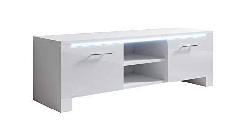 muebles bonitos Mueble TV Elina (120x40cm) Color Blanco con LED RGB
