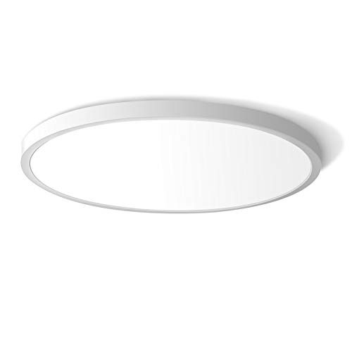 LED Flush Mount Ceiling Light Fixture, 5000K Daylight White 24W(240W Equivalent) 12 Inch Flat Modern Ceiling Lighting, 3200LM Ceiling Lamp for Bathroom Porch, Kitchen, Bedroom, Living Room, Hallway