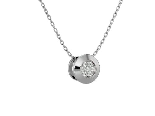 Collar London, 7 brillantes blancos de aprox. 0,02 quilates, oro 585, colgante con cadena, Diamante Oro,