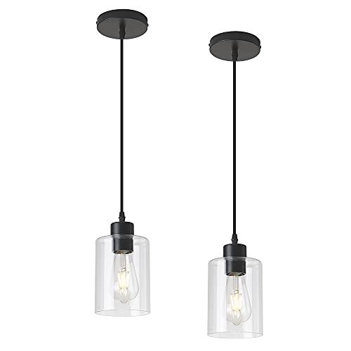 KLSS Modern Black Farmhouse Clear Glass Cylinder Pendant Light Fixture,Mini Pendant Lighting for Kitchen Island Decor - 4.75 Inch Shade, 2-58 Inch Cord, Matte Black.(2 Pack)