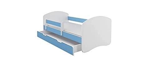 BDW Kinderbett Jugendbett mit Einer Schublade und Matratze || BESTPREIS || (Blau, 180x80)