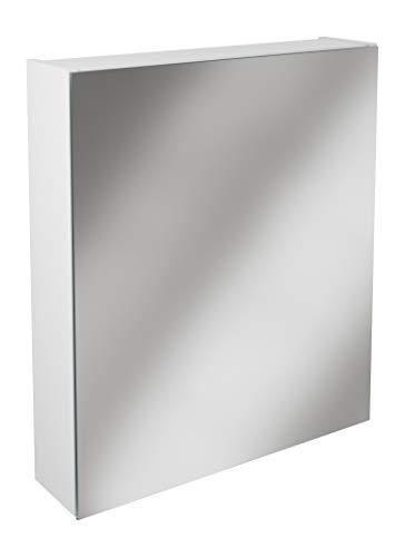 Lanzet Spiegelschrank L0 / Badschrank mit Spiegel/Maße (B x H x T): ca. 60 x 68 x 14,5 cm/Möbel fürs Bad oder WC/hochwertiger Schrank mit 1 Tür/Türanschlag rechts/Korpus: Weiß Glanz