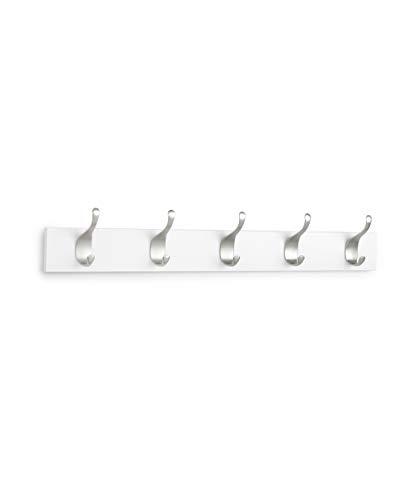 AmazonBasics - Legno Appendiabiti da parete, 5 ganci moderni 57 cm, Bianco, Confezione da 2
