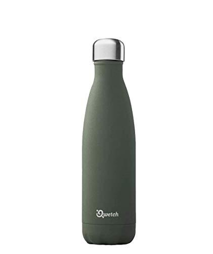 Qwetch Isolierflasche aus Edelstahl, 500 ml, für Erwachsene, Unisex, Khaki (Mehrfarbig), Einheitsgröße