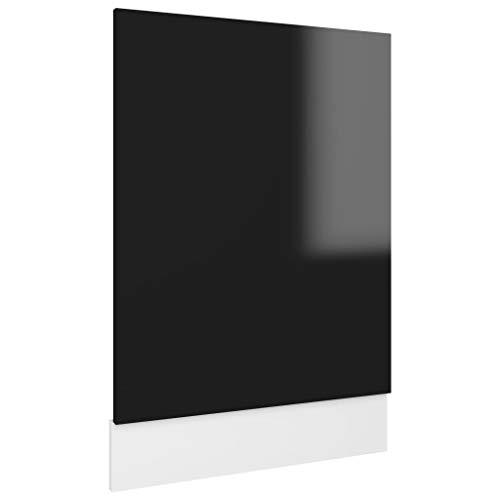vidaXL Lave-vaisselle avec plinthe pour lave-vaisselle, façade avant, noir, brillant, 45 x 3 x 67 cm