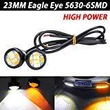 TABEN Lot de 2 feux de circulation diurnes LED 9 W 23 mm bicolore blanc ambré Switchback 5630 6SMD pour moteur de voiture DRL Moto Feux de circulation diurnes Feu arrière 12 V