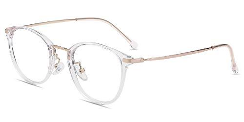 Firmoo Blaulichtfilter Brille ohne Sehstärke Damen Rund Transparent, Entspiegelte Anti Blaulicht Computer Brille für Herren, UV400 Blaulicht Schutzbrille für Bildschirme gegen Kopfschmerzen