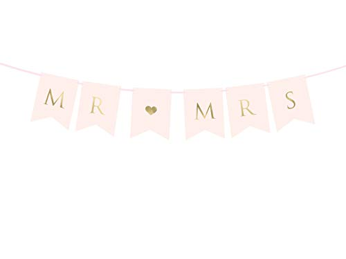 DaLoKu Mr & Mrs Hochzeit Girlande Banner Wedding Dekoration rosa weiß Rosegold, Farbe: rosa 15x85cm