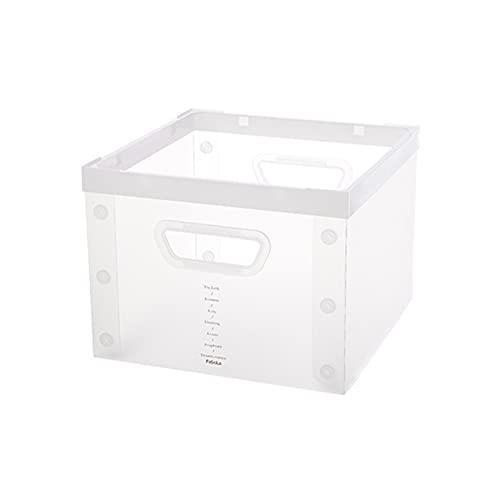 fuguzhu Caja de almacenamiento plegable decorativa apilable, caja de plástico transparente plegable con asas para guardar ropa y juguetes (tipo cuadrado)