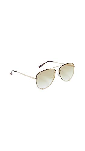 Quay Women's x Desi Perkins High Key Sunglasses, Gold/Brown Flash Lens, One Size New Jersey