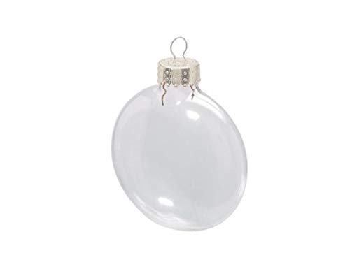 6 Fillable Flat 80mm Clear Glass Ball Christmas Bauble Ornaments Festival Decoration Supplies