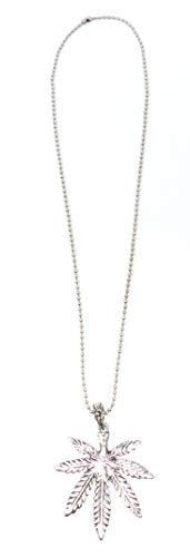 Cuir véritable collier avec pendentif feuille de chanvre acier inoxydable U17–8