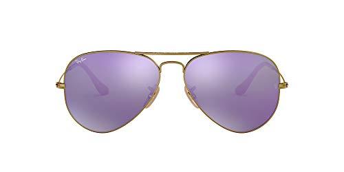 Ray-Ban Unisex Rb 3025 Sonnenbrille, Mehrfarbig (Gestell: Bronze/Kupfer, Gläser: grau verspiegelt lila 167/1M), Large (Herstellergröße: 58)