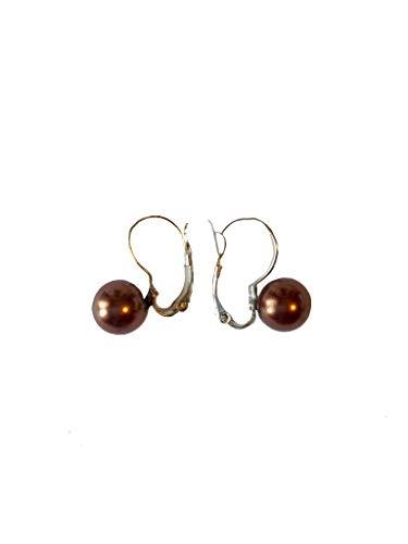 Pendientes con perla de río de color bronce con cierre a presión.
