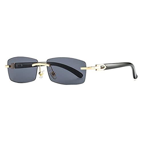 UKKD Gafas De Sol Moda Sin Montar Pequeño Rectángulo Gafas De Sol Mujeres Vintage Claro Oceano Lente Uv400-Gray