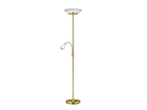Klassieke led-vloerlamp met plafondschijnwerper en flexibele leeslamp, glazen kap wit