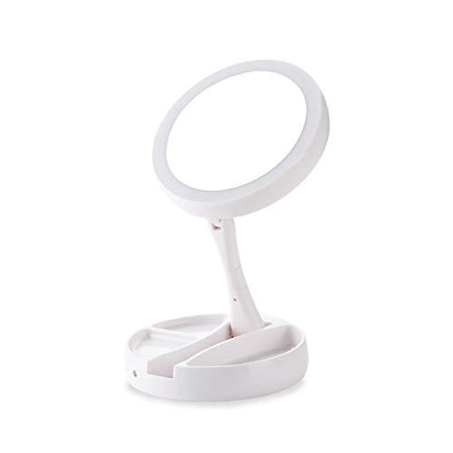LALAWO Lampe de Table Rechargeable Miroir Double Face Pliage LED en Option 10 Fois loupe Multifonction Miroir de Maquillage Taille 16 * 5.5cm Hauteur de déploiement 28,5cm