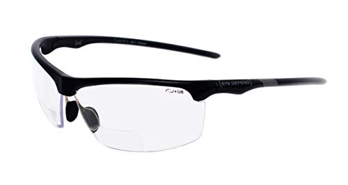 rainbow safety Sonnenbrille mit Lesehilfe Bifokal Sportbrille mit Leseteil für Radler Baseball Laufen Angeln Nachtsicht Schutzbrille Kontrastbrille (PRO BLK-CLR+1.00D)