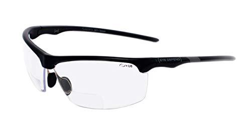 rainbow safety Sonnenbrille mit Lesehilfe Bifokal Sportbrille mit Leseteil für Radler Baseball Laufen Angeln Nachtsicht Schutzbrille Kontrastbrille (PRO BLK-CLR+2.50D)