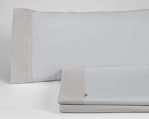 ESTELA - Juego de sábanas Lisos con Aplique Color Perla-Plomo (3 Piezas) - Cama de 105 cm. - 50% Algodón / 50% Poliéster - 144 Hilos