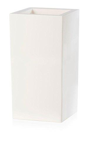 Bac à fleur - Bac à Fleurs Schio Cubo Alto 40 x 40 x 80 cm Blanc