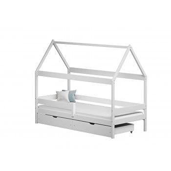 Children's Beds Home - Cama individual en forma de casa con dosel - Teddy - Cama individual - Teddy - 140x80, blanco, dos pequeños, ninguno