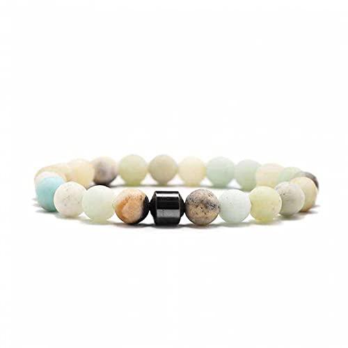 N/A Aniversario Pulseras de hematita cilíndrica a la Moda para Hombre, Pulseras y brazaletes de Cuentas de Piedra Natural, Nueva joyería clásica de Yoga para Hombre