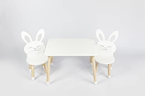 DEKORMANDA - Mesa infantil con sillas - Muebles para habitación infantil - Una silla en forma de conejo para pequeños amantes de los animales - Mesa blanca para niños con 2 sillas de enseñanza